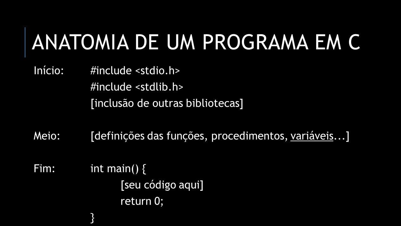 Anatomia de um programa em C