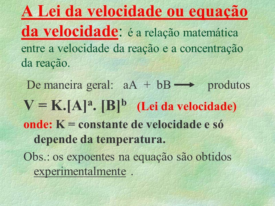 A Lei da velocidade ou equação da velocidade: é a relação matemática entre a velocidade da reação e a concentração da reação.