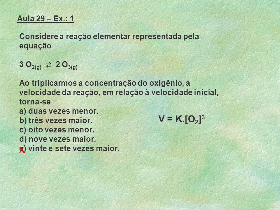 Aula 29 – Ex.: 1 Considere a reação elementar representada pela equação. 3 O2(g) ⇄ 2 O3(g)