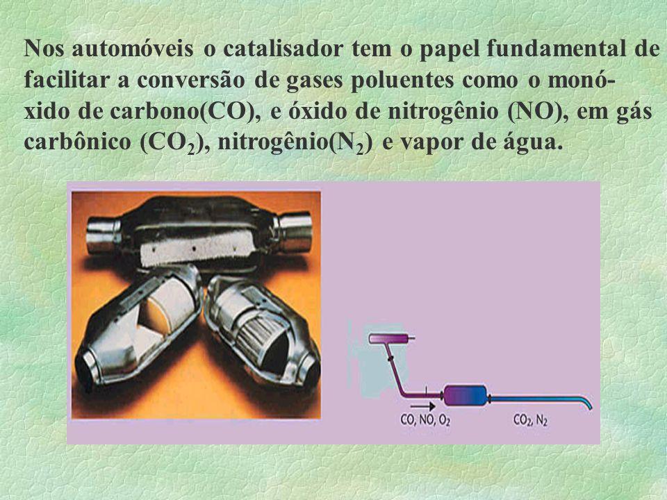 Nos automóveis o catalisador tem o papel fundamental de facilitar a conversão de gases poluentes como o monó- xido de carbono(CO), e óxido de nitrogênio (NO), em gás carbônico (CO2), nitrogênio(N2) e vapor de água.