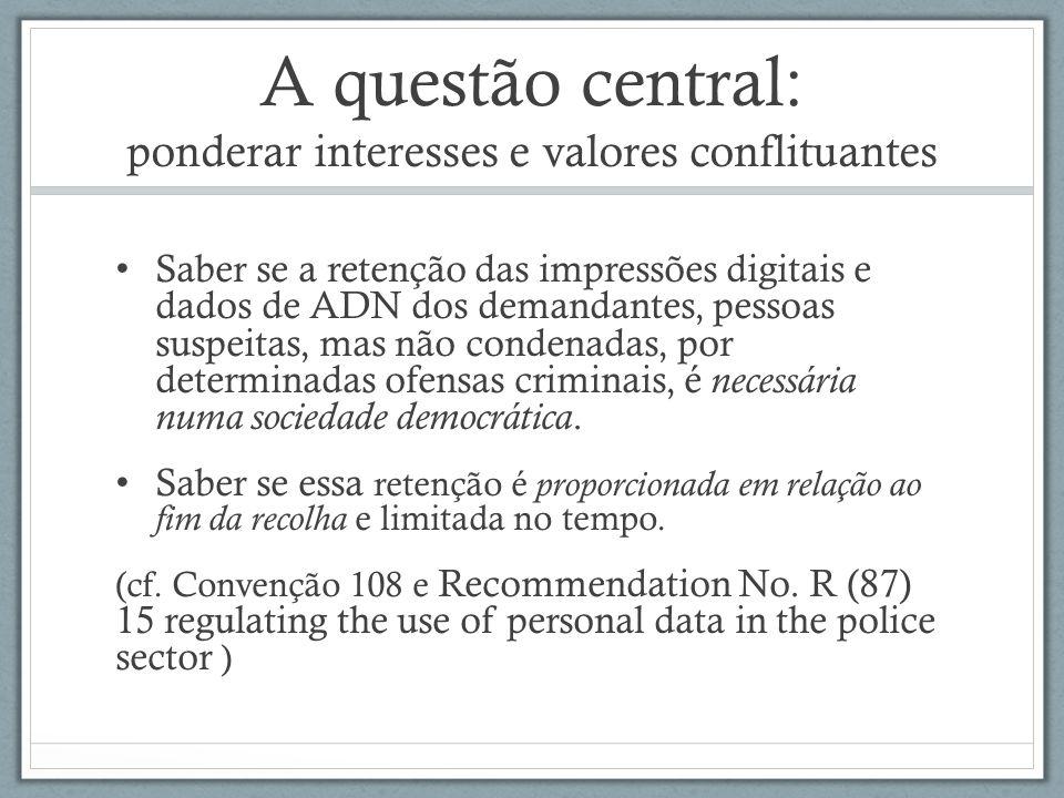 A questão central: ponderar interesses e valores conflituantes