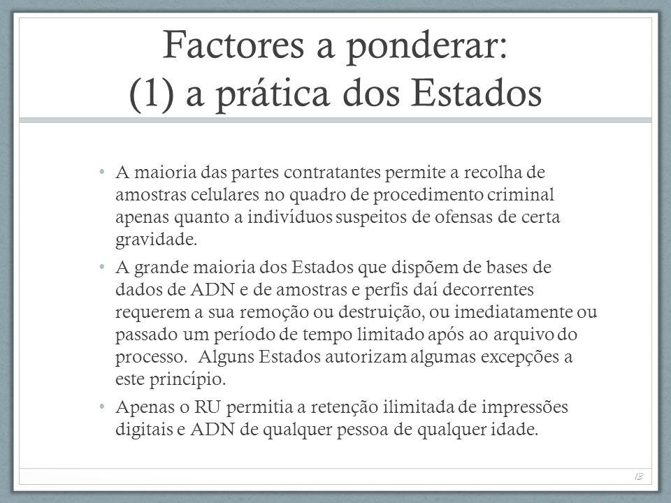 Factores a ponderar: (1) a prática dos Estados