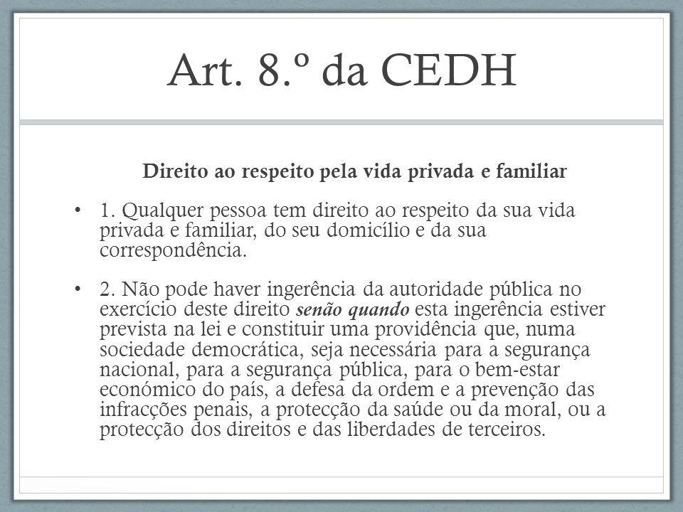 Art. 8.º da CEDH Direito ao respeito pela vida privada e familiar