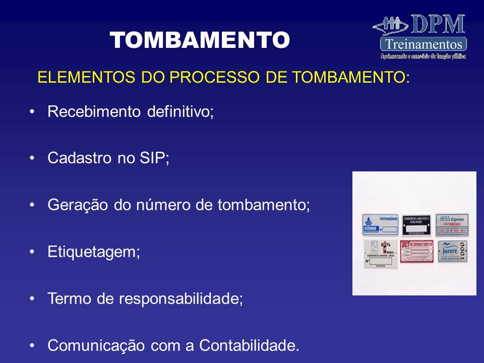 TOMBAMENTO ELEMENTOS DO PROCESSO DE TOMBAMENTO: