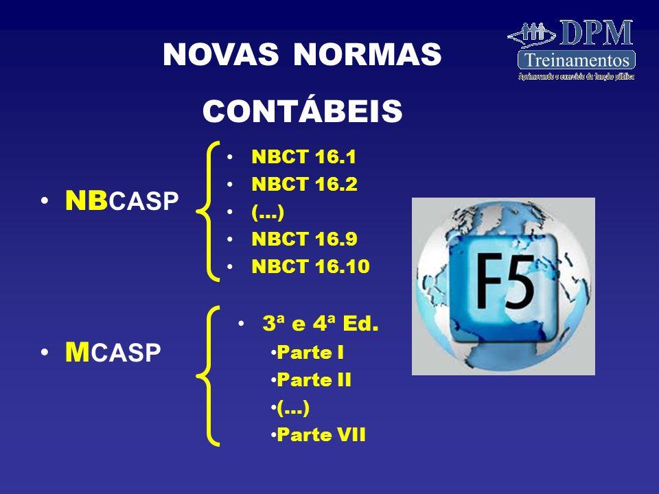 NOVAS NORMAS CONTÁBEIS NBCASP MCASP 3ª e 4ª Ed. NBCT 16.1 NBCT 16.2