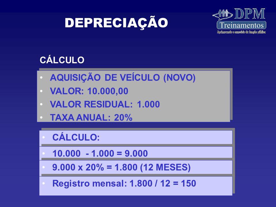 DEPRECIAÇÃO CÁLCULO AQUISIÇÃO DE VEÍCULO (NOVO) VALOR: 10.000,00