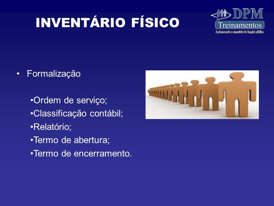 INVENTÁRIO FÍSICO Formalização Ordem de serviço;