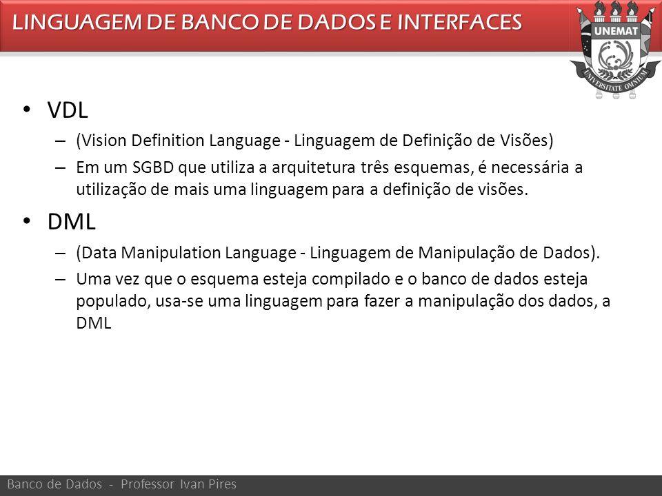 VDL DML LINGUAGEM DE BANCO DE DADOS E INTERFACES
