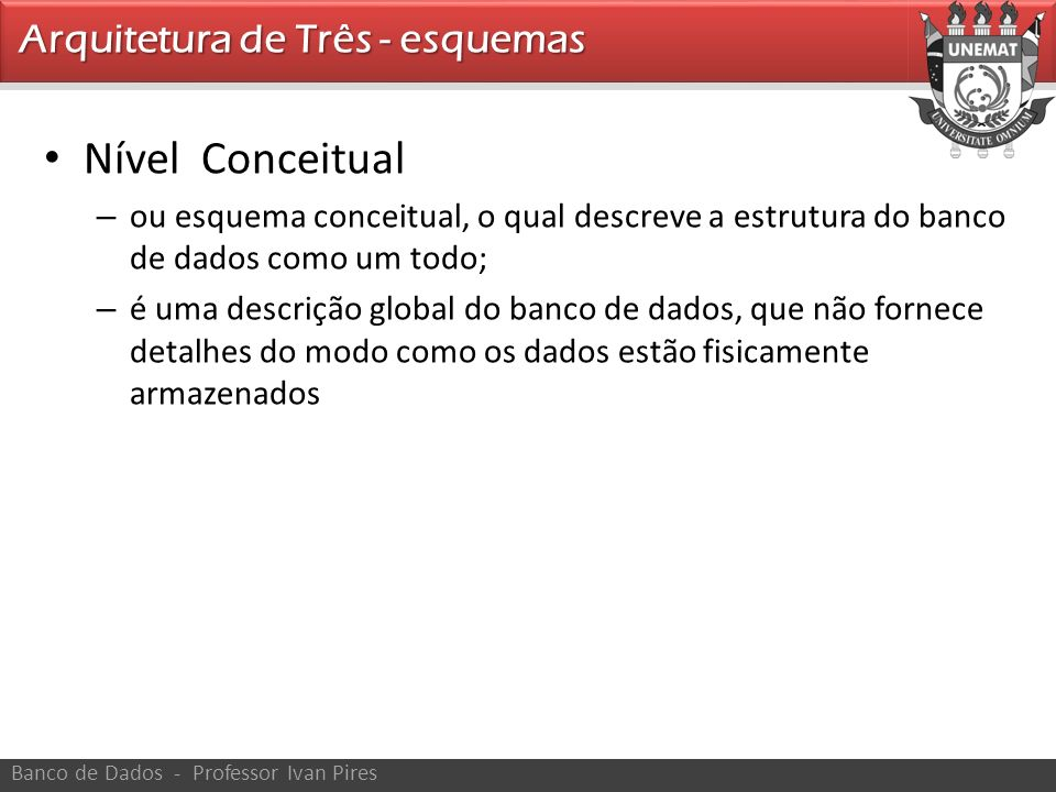 Nível Conceitual Arquitetura de Três - esquemas