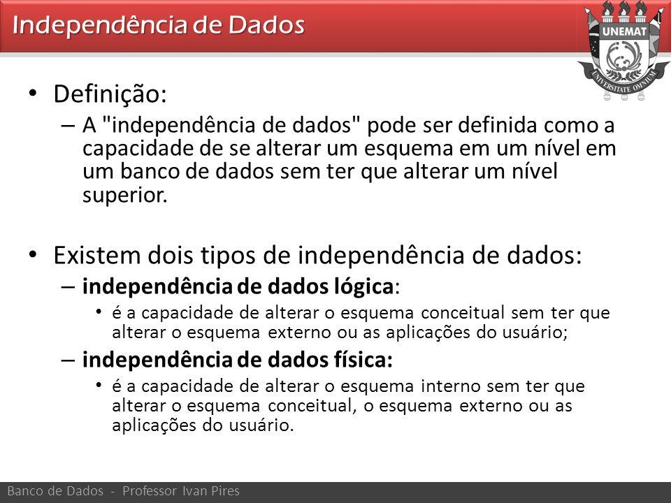 Existem dois tipos de independência de dados: