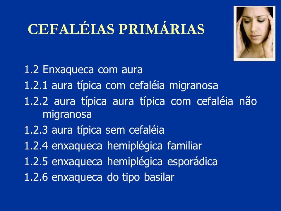 CEFALÉIAS PRIMÁRIAS 1.2 Enxaqueca com aura