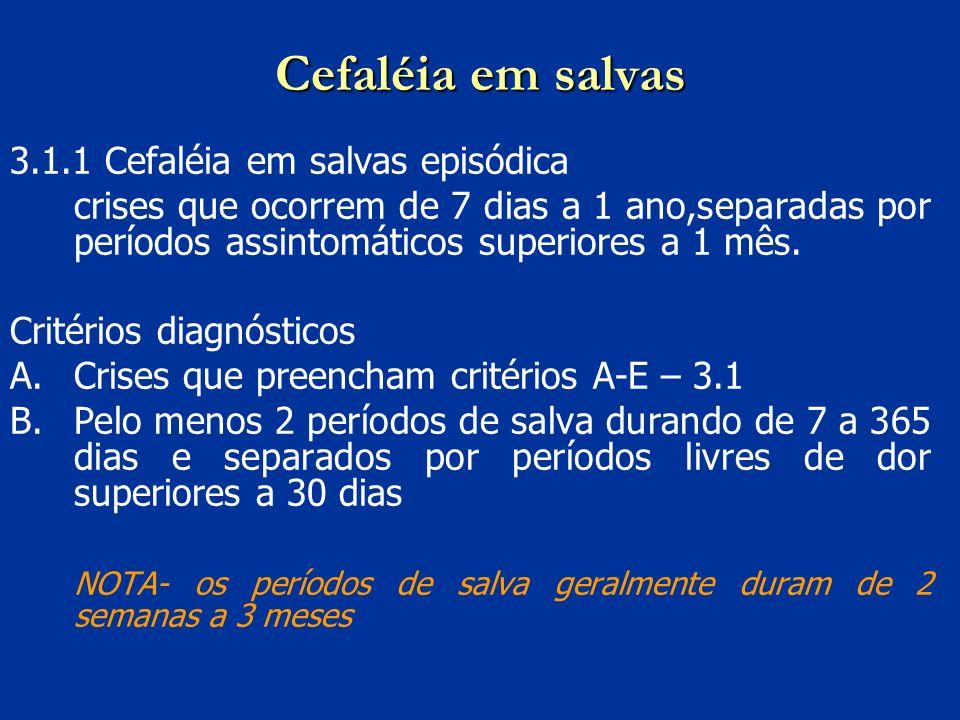 Cefaléia em salvas 3.1.1 Cefaléia em salvas episódica