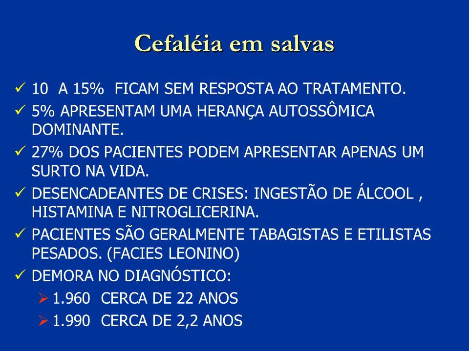 Cefaléia em salvas 10 A 15% FICAM SEM RESPOSTA AO TRATAMENTO.