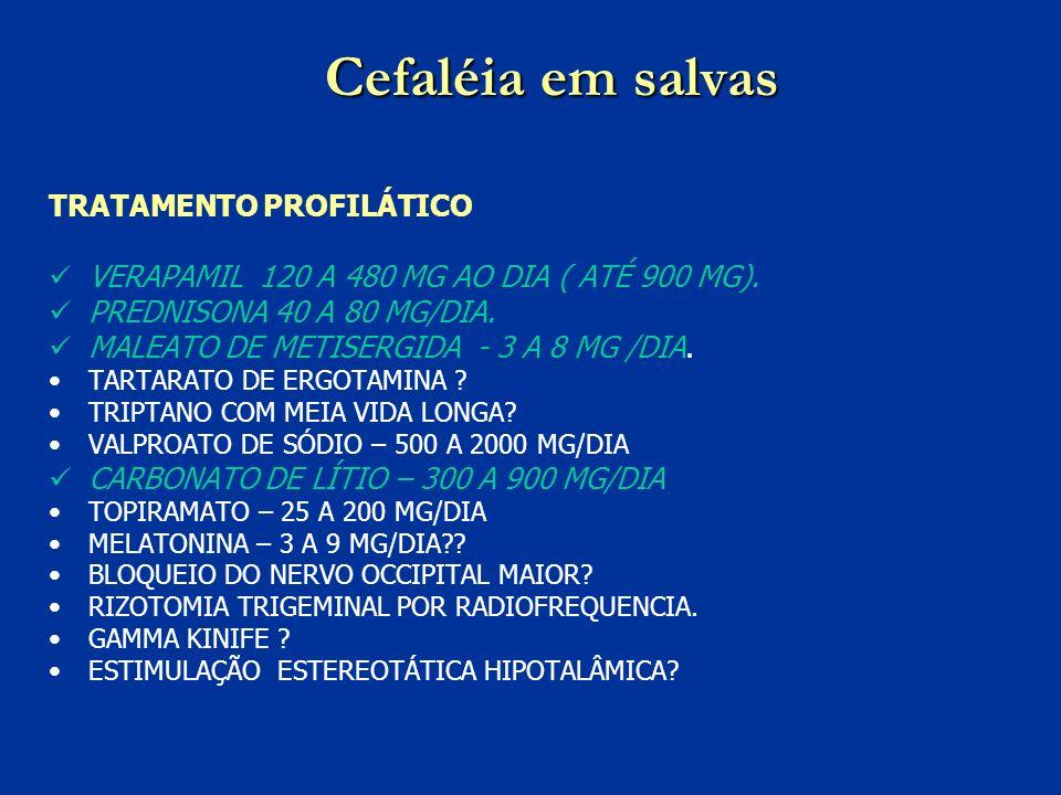 Cefaléia em salvas TRATAMENTO PROFILÁTICO