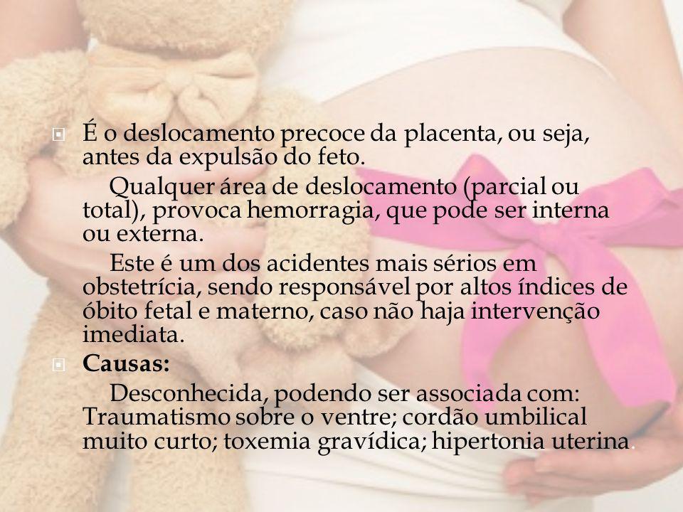 É o deslocamento precoce da placenta, ou seja, antes da expulsão do feto.