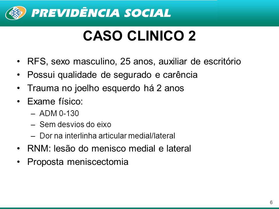 CASO CLINICO 2 RFS, sexo masculino, 25 anos, auxiliar de escritório