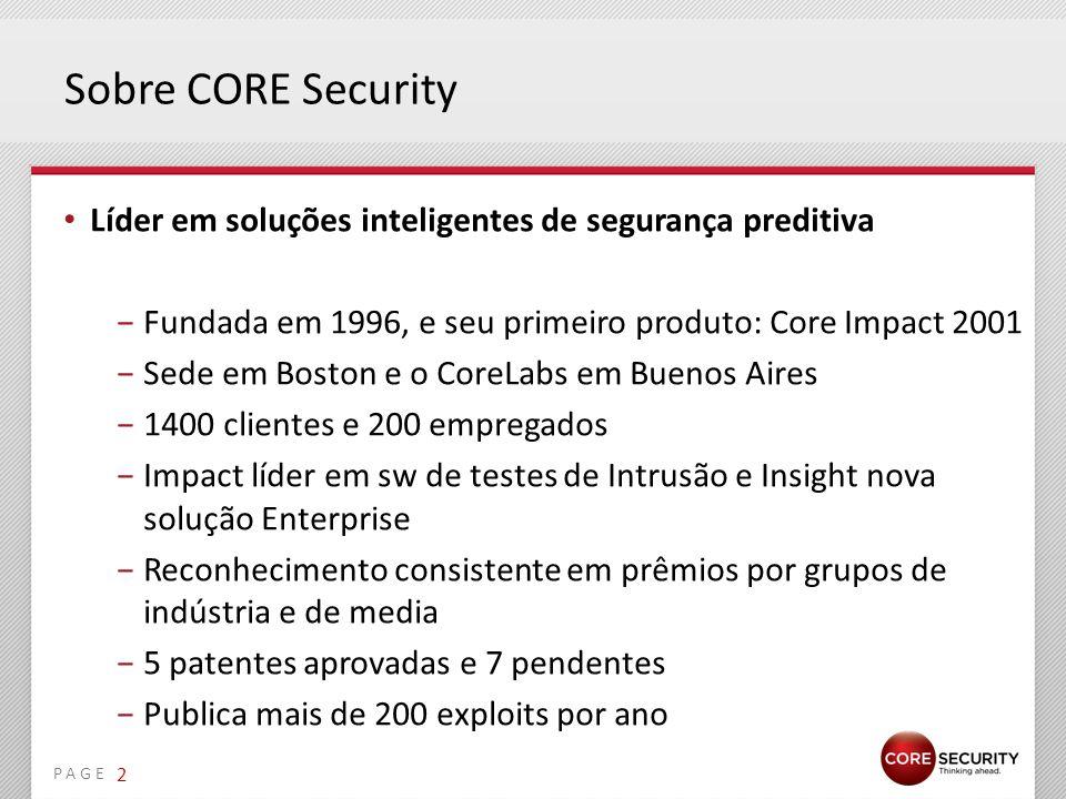 Sobre CORE Security Líder em soluções inteligentes de segurança preditiva. Fundada em 1996, e seu primeiro produto: Core Impact 2001.