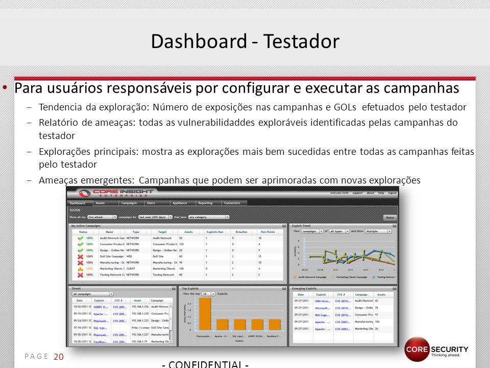 Dashboard - Testador Para usuários responsáveis por configurar e executar as campanhas.
