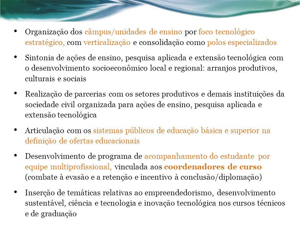 Organização dos câmpus/unidades de ensino por foco tecnológico estratégico, com verticalização e consolidação como polos especializados