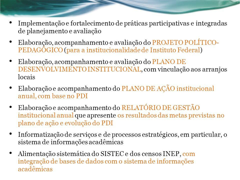Implementação e fortalecimento de práticas participativas e integradas de planejamento e avaliação