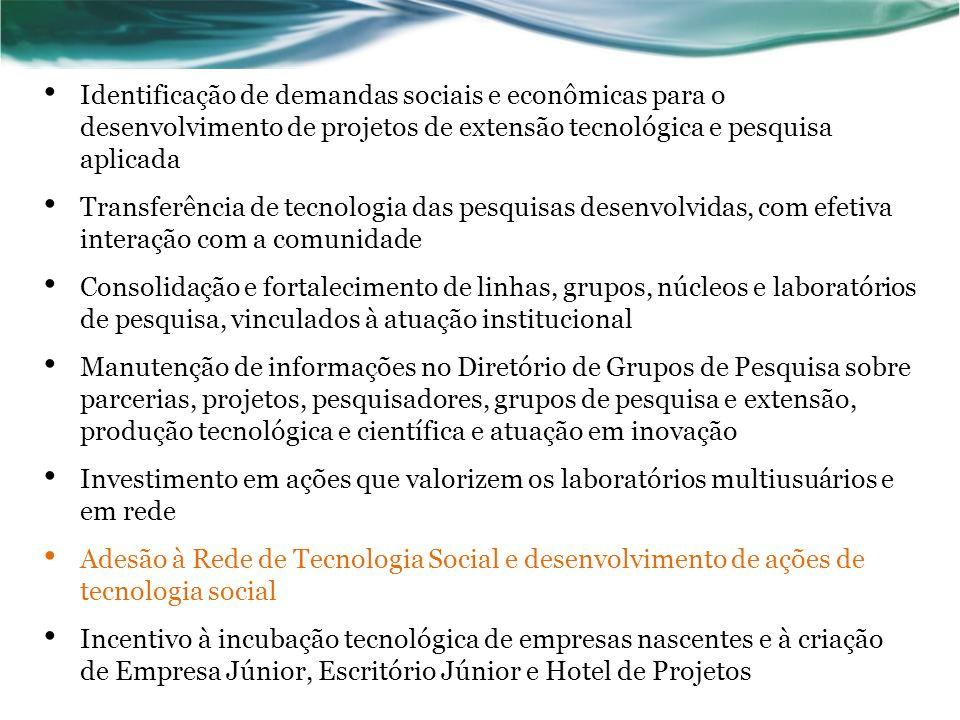 Identificação de demandas sociais e econômicas para o desenvolvimento de projetos de extensão tecnológica e pesquisa aplicada