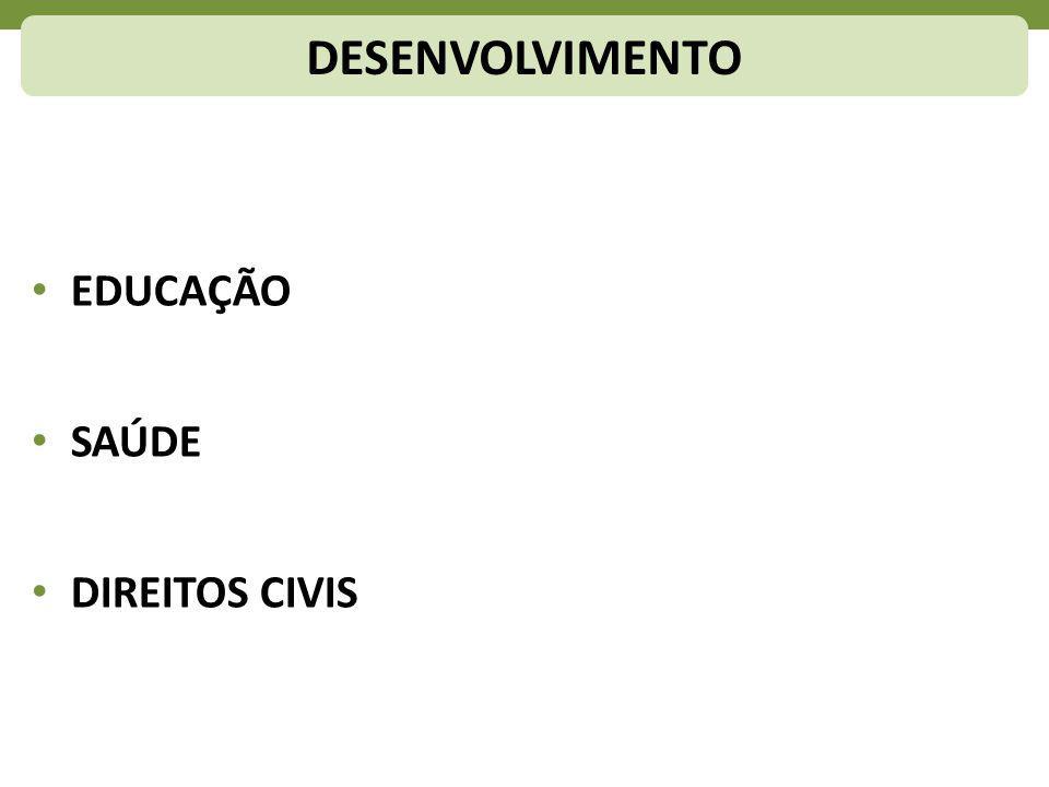 DESENVOLVIMENTO EDUCAÇÃO SAÚDE DIREITOS CIVIS
