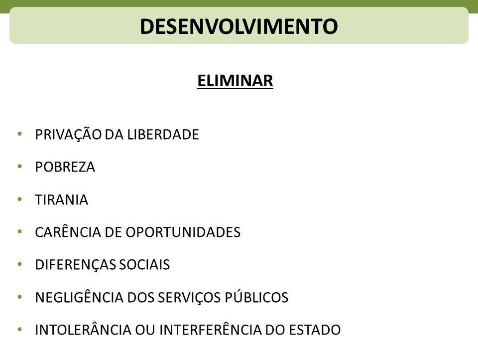 DESENVOLVIMENTO ELIMINAR PRIVAÇÃO DA LIBERDADE POBREZA TIRANIA