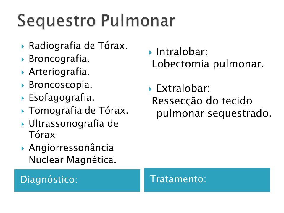 Sequestro Pulmonar Intralobar: Lobectomia pulmonar. Extralobar: