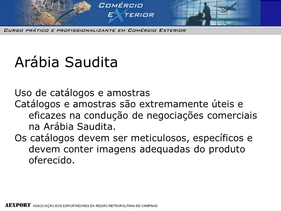 Arábia Saudita Uso de catálogos e amostras