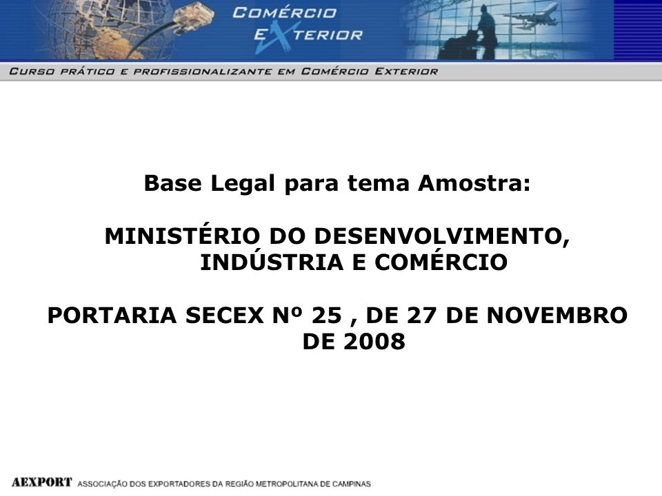 Base Legal para tema Amostra: