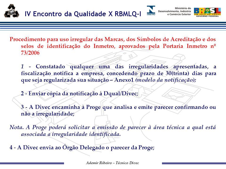 Procedimento para uso irregular das Marcas, dos Símbolos de Acreditação e dos selos de identificação do Inmetro, aprovados pela Portaria Inmetro nº 73/2006