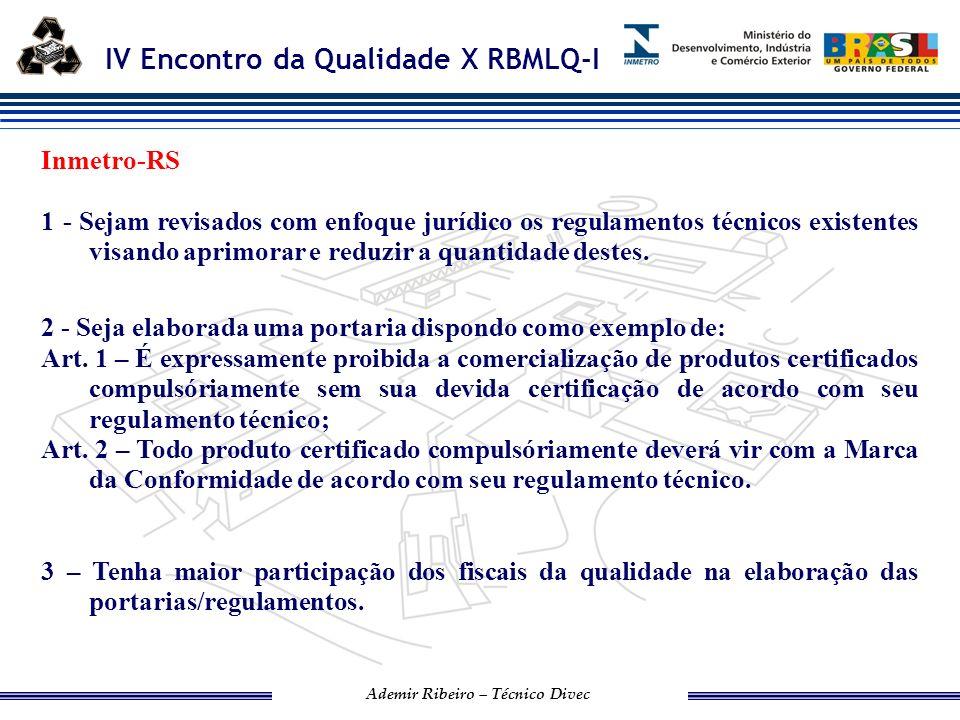 Inmetro-RS 1 - Sejam revisados com enfoque jurídico os regulamentos técnicos existentes visando aprimorar e reduzir a quantidade destes.