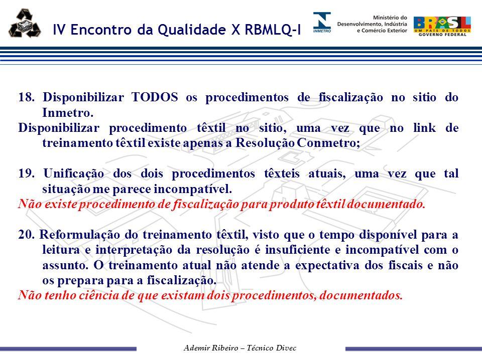 18. Disponibilizar TODOS os procedimentos de fiscalização no sitio do Inmetro.