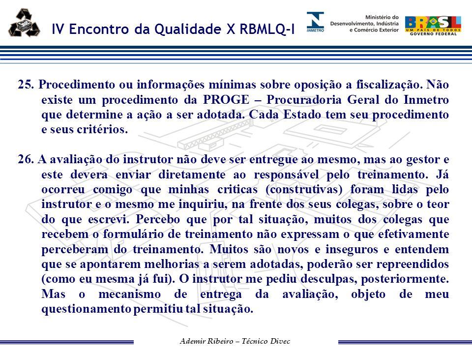25. Procedimento ou informações mínimas sobre oposição a fiscalização