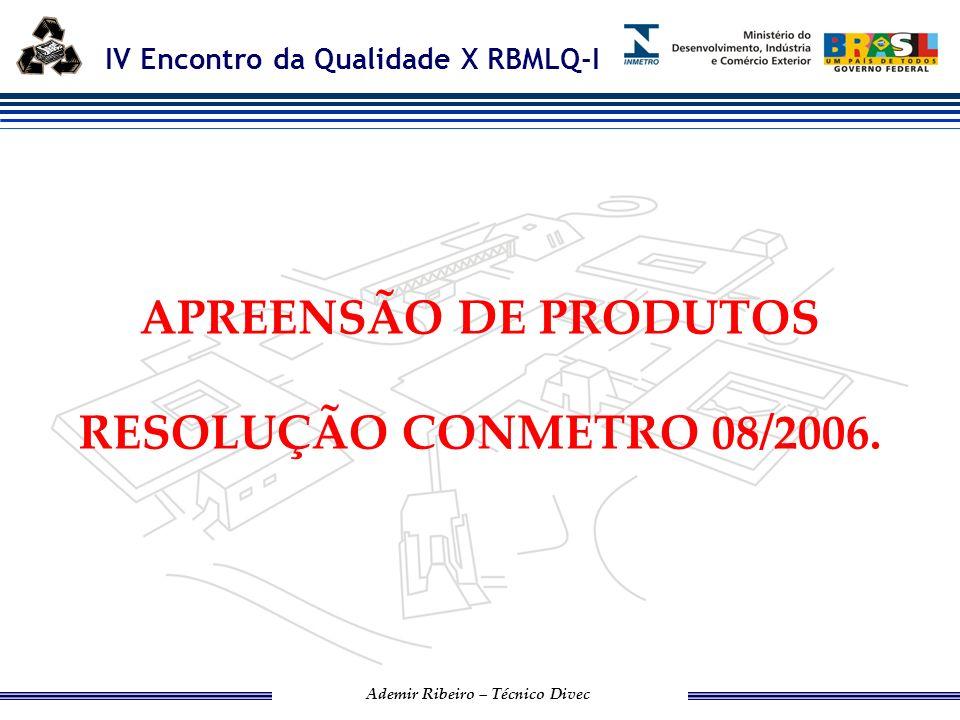 APREENSÃO DE PRODUTOS RESOLUÇÃO CONMETRO 08/2006.