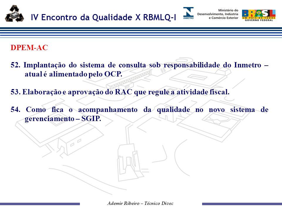 DPEM-AC 52. Implantação do sistema de consulta sob responsabilidade do Inmetro – atual é alimentado pelo OCP.