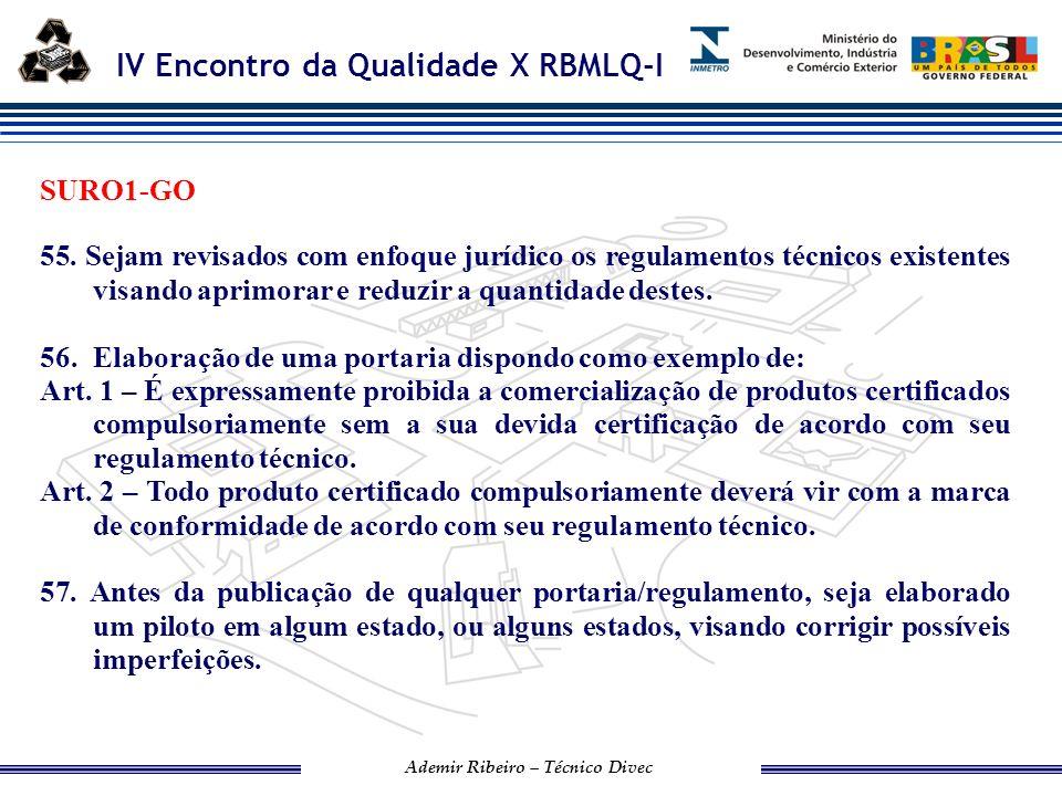SURO1-GO 55. Sejam revisados com enfoque jurídico os regulamentos técnicos existentes visando aprimorar e reduzir a quantidade destes.