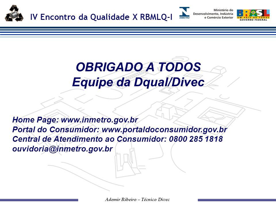 OBRIGADO A TODOS Equipe da Dqual/Divec