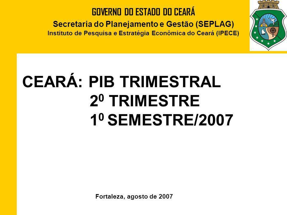 CEARÁ: PIB TRIMESTRAL 20 TRIMESTRE 10 SEMESTRE/2007