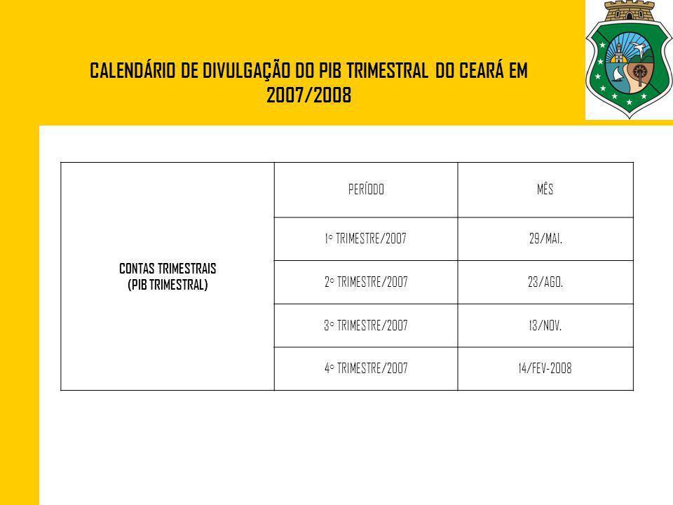 CALENDÁRIO DE DIVULGAÇÃO DO PIB TRIMESTRAL DO CEARÁ EM 2007/2008