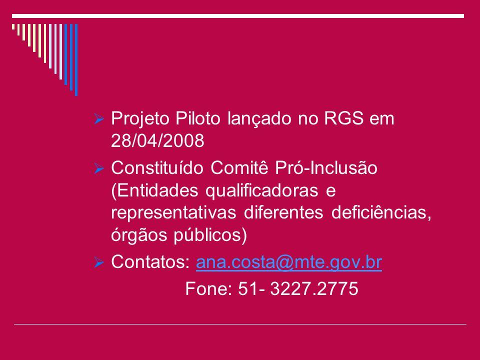 Projeto Piloto lançado no RGS em 28/04/2008