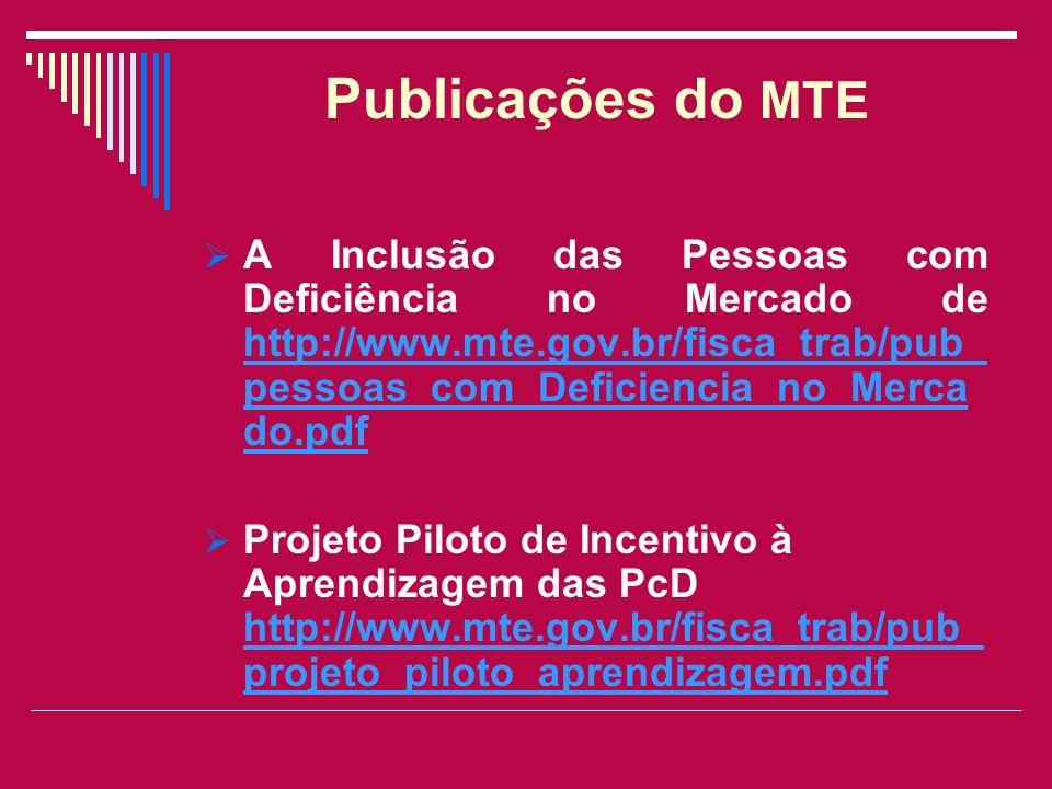 Publicações do MTE A Inclusão das Pessoas com Deficiência no Mercado de http://www.mte.gov.br/fisca_trab/pub_pessoas_com_Deficiencia_no_Mercado.pdf.