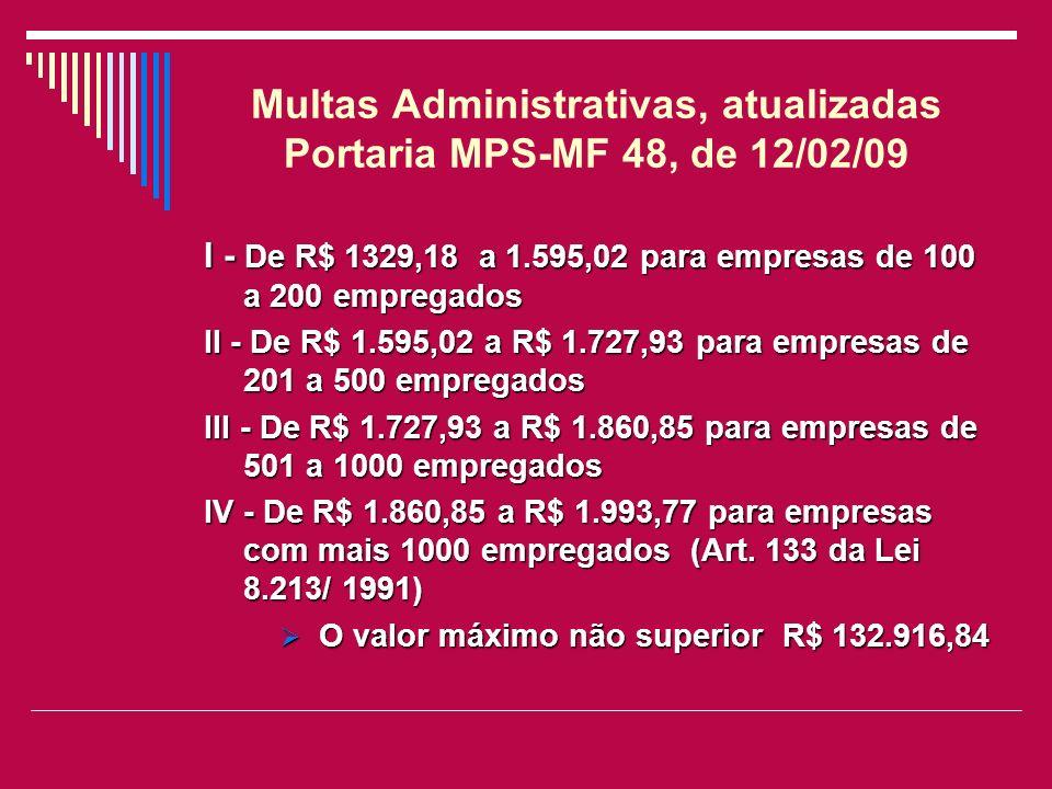 Multas Administrativas, atualizadas Portaria MPS-MF 48, de 12/02/09