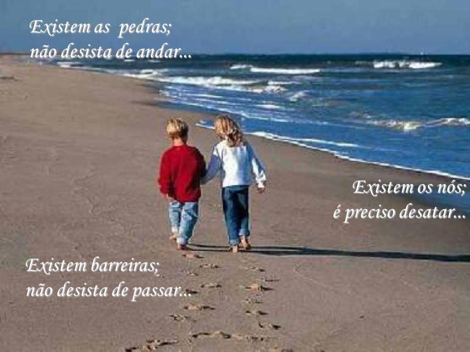 Existem as pedras; não desista de andar... Existem os nós; é preciso desatar... Existem barreiras;