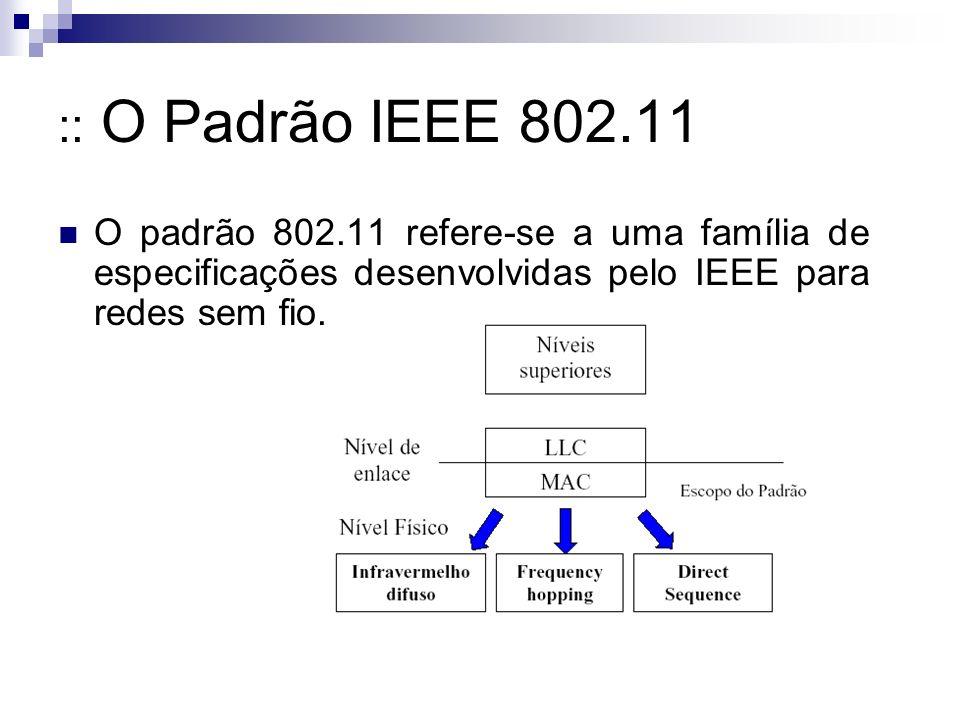 :: O Padrão IEEE 802.11 O padrão 802.11 refere-se a uma família de especificações desenvolvidas pelo IEEE para redes sem fio.