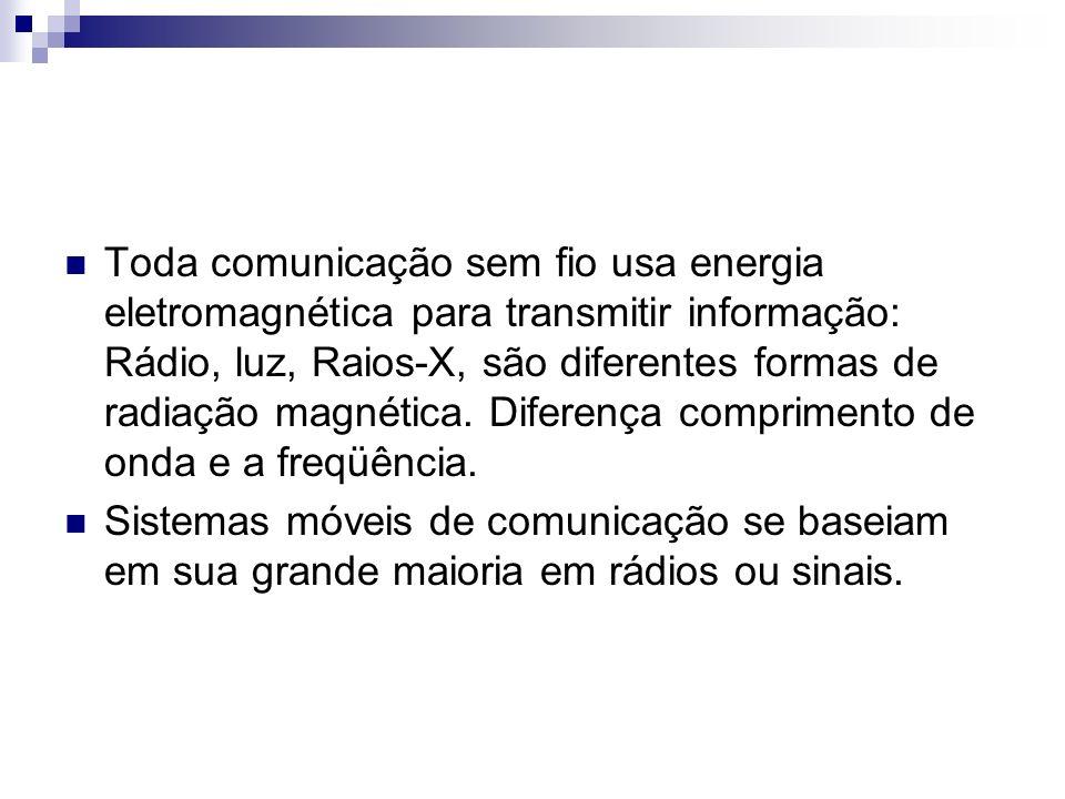Toda comunicação sem fio usa energia eletromagnética para transmitir informação: Rádio, luz, Raios-X, são diferentes formas de radiação magnética. Diferença comprimento de onda e a freqüência.