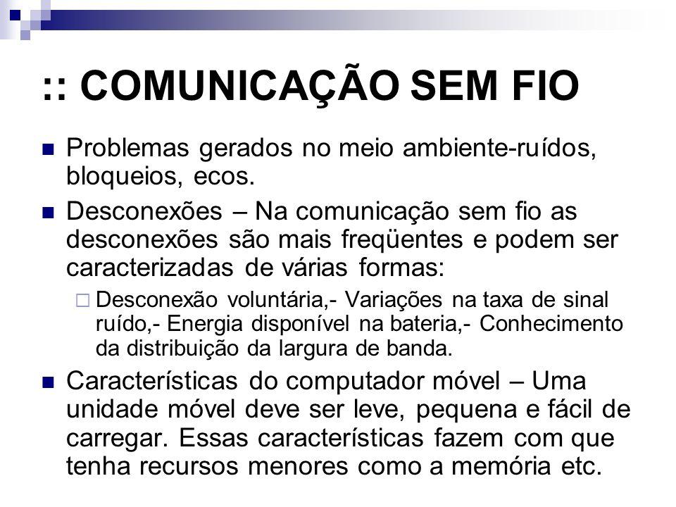 :: COMUNICAÇÃO SEM FIO Problemas gerados no meio ambiente-ruídos, bloqueios, ecos.