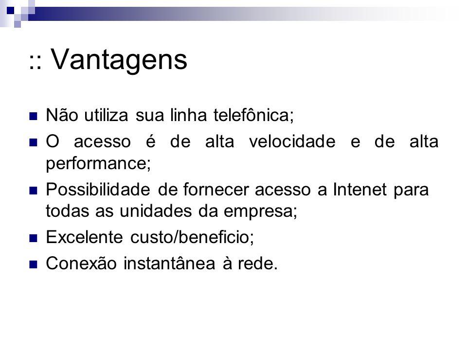 :: Vantagens Não utiliza sua linha telefônica;