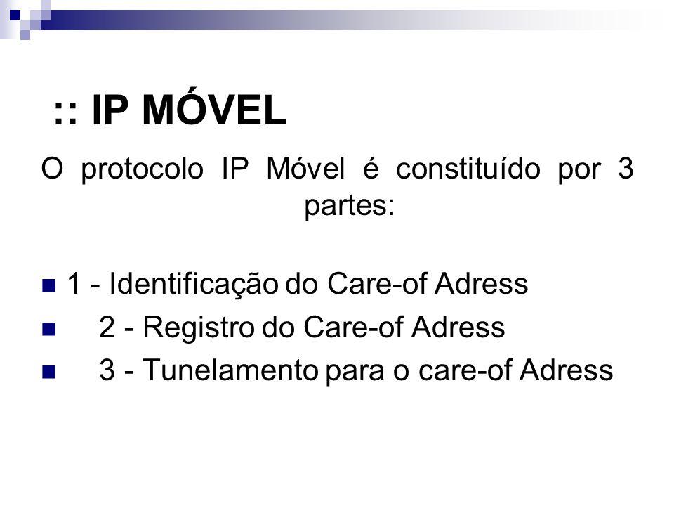 :: IP MÓVEL O protocolo IP Móvel é constituído por 3 partes: