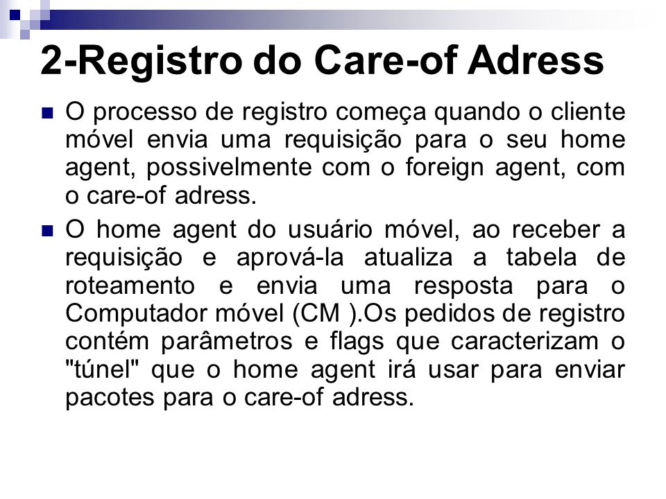 2-Registro do Care-of Adress
